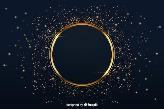 Luxe achtergrond met gouden ring Gratis Vector