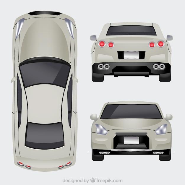 Luxe auto in verschillende uitzichten Gratis Vector