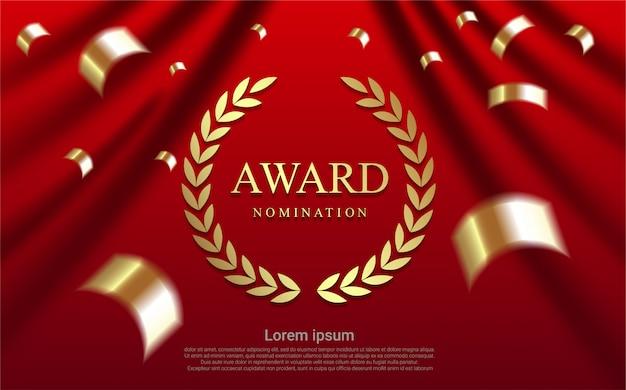 Luxe award nominatie op gordijn achtergrond. Premium Vector