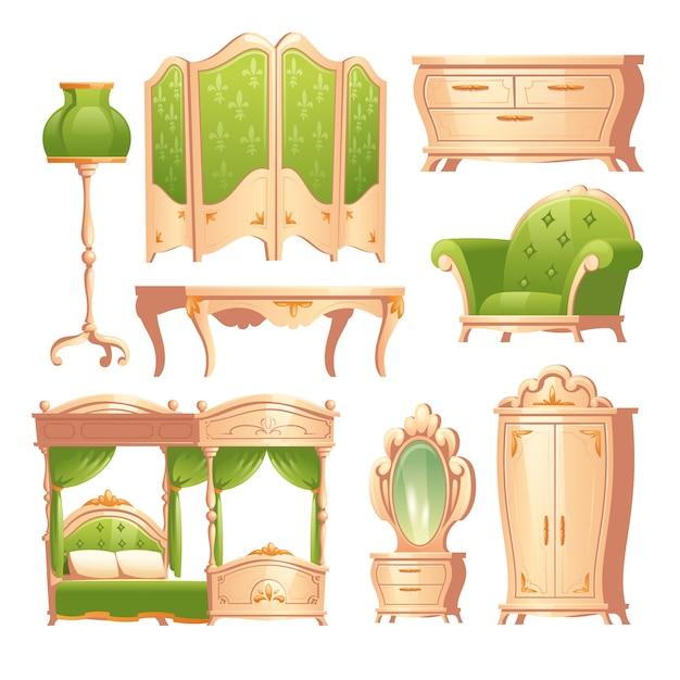 Luxe barok interieur, romantische vintage slaapkamer Gratis Vector