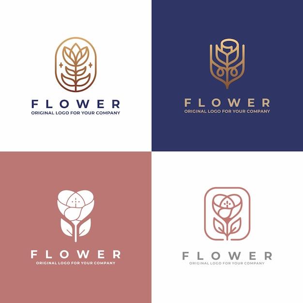 Luxe bloem logo ontwerp. creatieve unieke schoonheid, mode, salon logo-ontwerpcollectie. Premium Vector