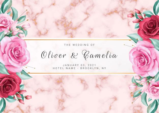 Luxe bloemenachtergrond voor de kaartsjabloon van de huwelijksuitnodiging met gouden marmeren texturen Premium Vector