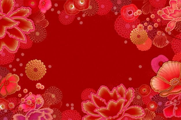 Luxe bloemenkaderachtergrond in rode en fuchsia toon Premium Vector