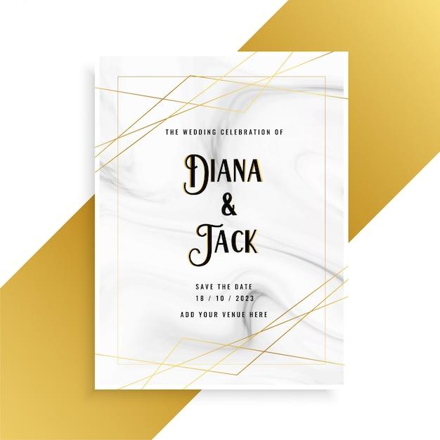 Luxe bruiloft uitnodiging kaart ontwerp met marmeren textuur Gratis Vector