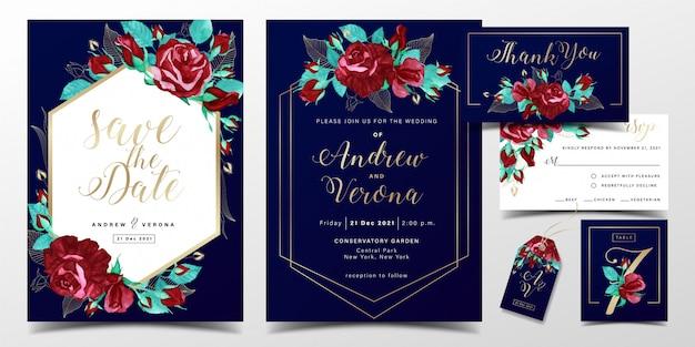 Luxe bruiloft uitnodiging kaartsjabloon in donkerblauw kleurenthema met rode rozen aquarel decoratie Premium Vector