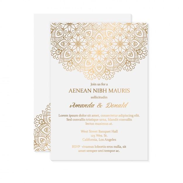 Luxe bruiloft uitnodiging kaartsjabloon Gratis Vector