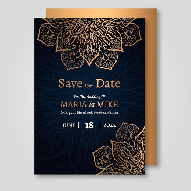 Luxe bruiloft uitnodiging sjabloon Gratis Vector