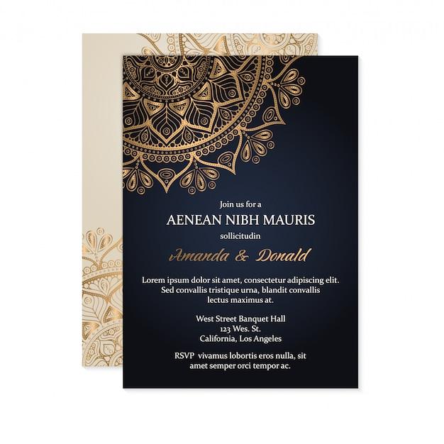 Luxe bruiloft uitnodiging Premium Vector