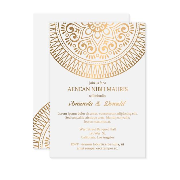 Luxe bruiloft uitnodiging Gratis Vector