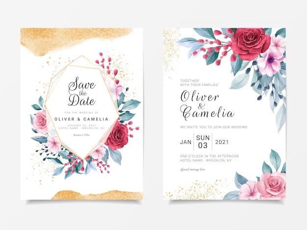 Luxe bruiloft uitnodigingskaart sjabloon set met geometrische floral frame en gouden glitter decoratie Premium Vector