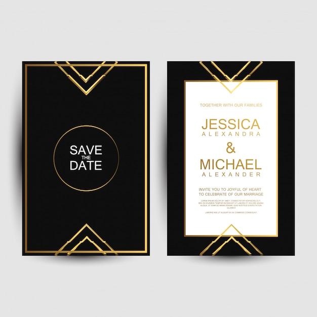 Luxe bruiloft uitnodigingskaarten Premium Vector