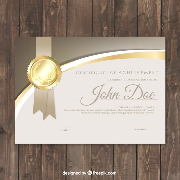 Luxe certificaat met gouden details Gratis Vector