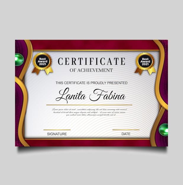 Luxe certificaat van prestatie-sjabloon Gratis Vector