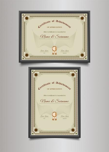 Luxe certificaatsjabloon met decoratieve frame in vintage stijl Premium Vector