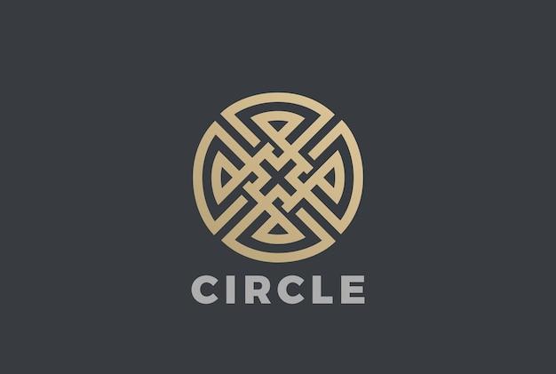 Luxe cirkel doolhof cross logo pictogram. lineaire stijl Gratis Vector