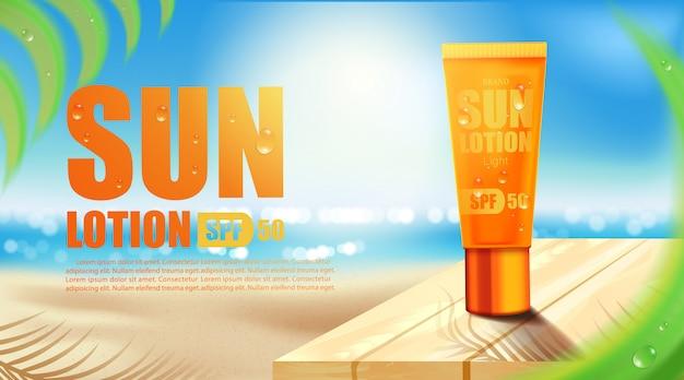 Luxe cosmetische fles pakket huidverzorgingscrème, uv-filter fles met zonnebrandcrème, cosmetisch schoonheidsproduct Premium Vector