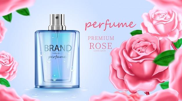 Luxe cosmetische flespakket huidverzorgingscrème, schoonheidsschoonheidsproductposter, met bladeren en witte kleurenachtergrond Premium Vector