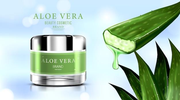 Luxe cosmetische flesverpakking huidverzorgingscrème met aloë vera. Premium Vector