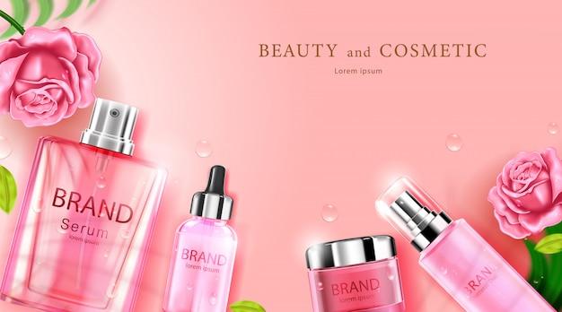 Luxe cosmetische flesverzorgingscrème Premium Vector