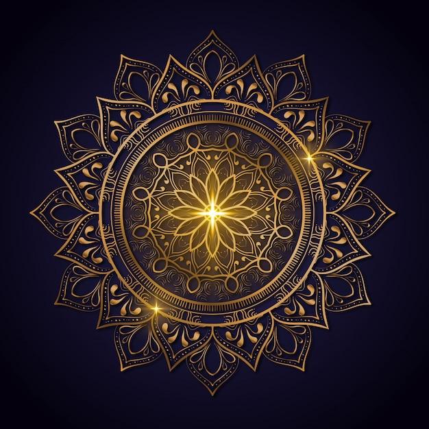 Luxe decoratie van mandala bloemen met glanzende gouden kleur. yoga sjabloon. relax, islamitisch, arabesken, indisch, turkije. Premium Vector
