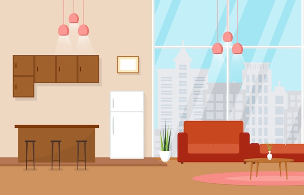 Luxe deluxe woonkamer penthouse appartement interieur meubels Premium Vector
