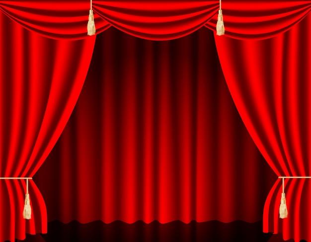 Luxe dieprode rode zijde fluwelen gordijnen en draperieën interieur decoratie ontwerp ideeën realistische pictogrammen. Premium Vector