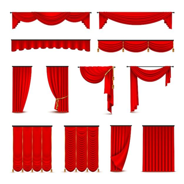 Luxe dieprode rode zijde fluwelen gordijnen en gordijnen interieurdecoratie ontwerpideeën realistische ico Gratis Vector
