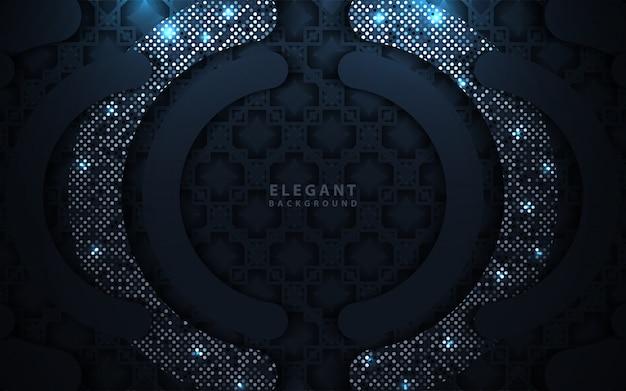 Luxe donkerblauw overlappend met glitters decoratie Premium Vector