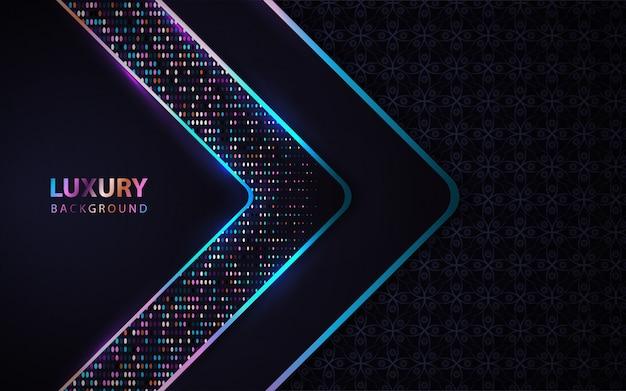 Luxe donkerblauwe achtergrond met glitters decoratie Premium Vector