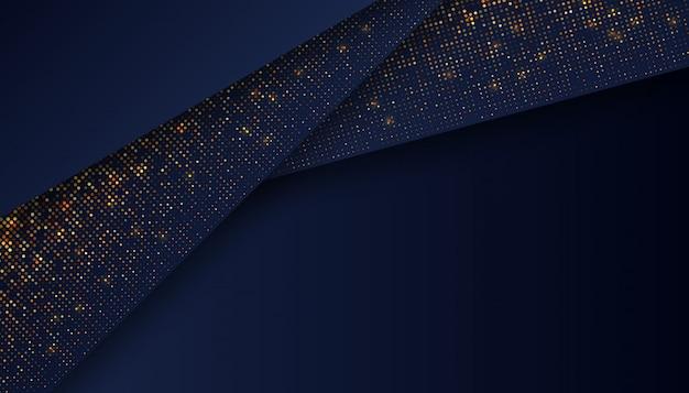 Luxe donkerblauwe achtergrond met gloeiende gouden stippen Premium Vector