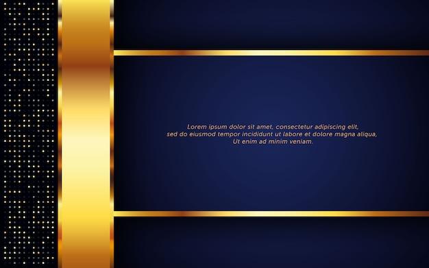 Luxe donkerblauwe achtergrond met gouden streep en glitter Premium Vector