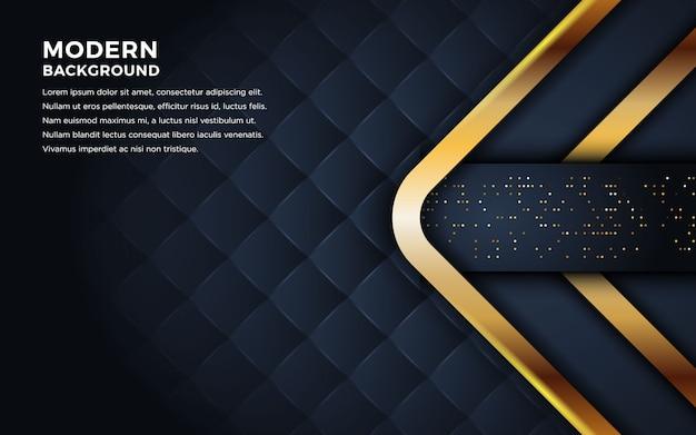 Luxe donkere achtergrond met gouden lijnen combinatie. Premium Vector