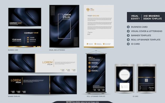 Luxe donkere marine briefpapier set en visuele merkidentiteit met abstracte overlappende lagen achtergrond Premium Vector