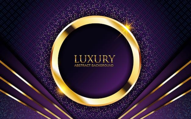 Luxe donkere paarse achtergrond met gouden cirkel en glitter Premium Vector