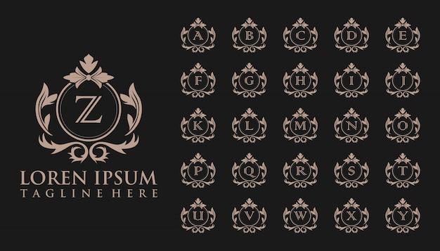 Luxe eerste badge-logo, sjabloon Premium Vector