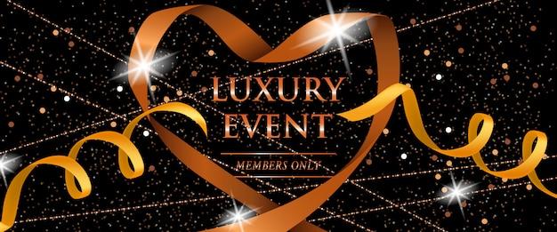 Luxe evenement leden alleen feestelijke banner met linten, glitter Gratis Vector