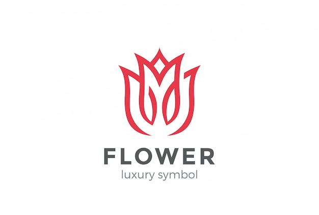 Luxe fashion flower logo abstract lineaire stijl. looped tulip rose lines logo ontwerpsjabloon Gratis Vector