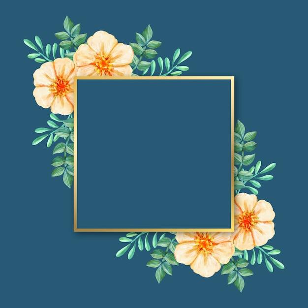 Luxe frame met winterbloemen Gratis Vector