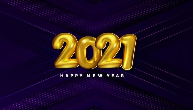 Luxe gelukkig nieuwjaar 2021 achtergrond met halftoon van de papercut-decoratie Gratis Vector