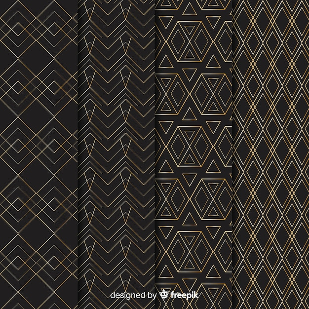 Luxe geometrische patrooncollectie Gratis Vector