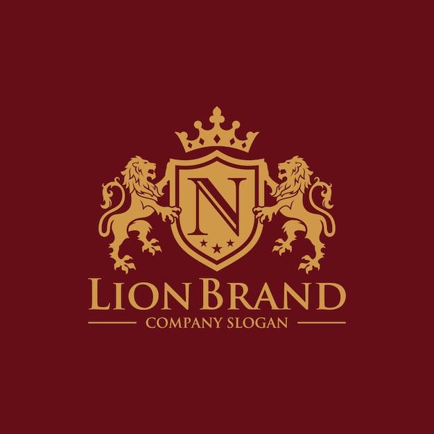 Luxe golden royal lion king logo-ontwerpinspiratie Premium Vector