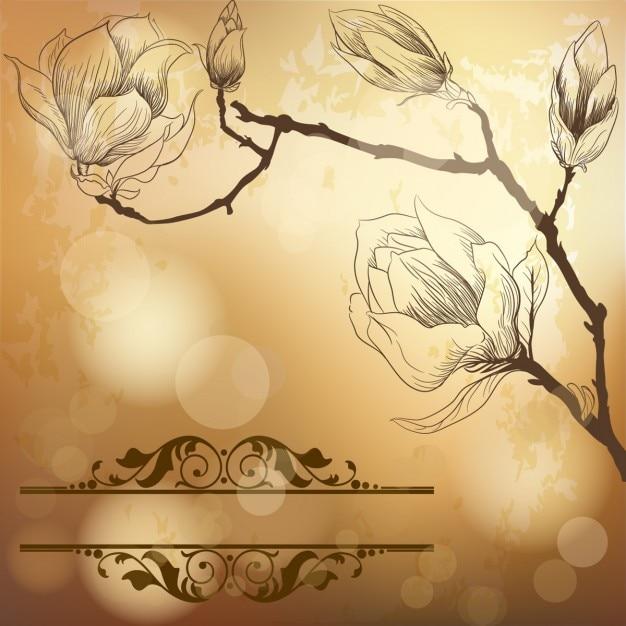 Luxe gouden achtergrond met magnolia bloem Gratis Vector