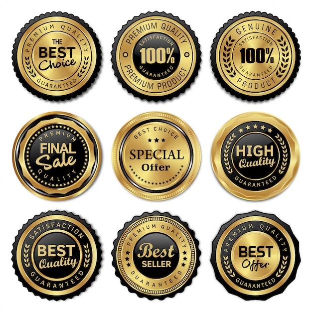 Luxe gouden badges en labels premium kwaliteit Premium Vector