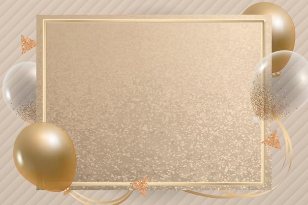 Luxe gouden ballonnen frame achtergrond Gratis Vector