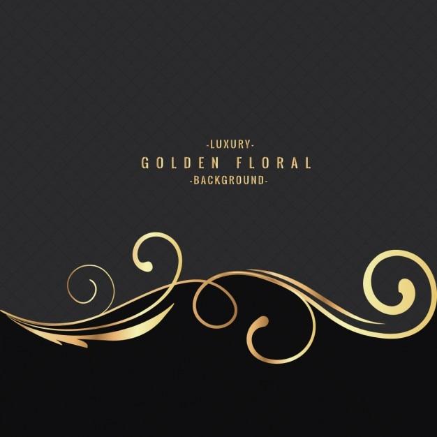 luxe gouden bloemen achtergrond Gratis Vector