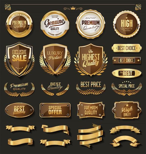 Luxe gouden en zwarte designelementencollectie Premium Vector