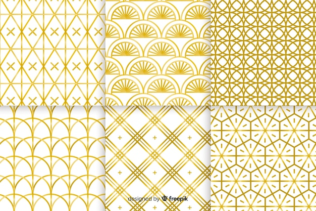 Luxe gouden geometrische patrooncollectie Gratis Vector