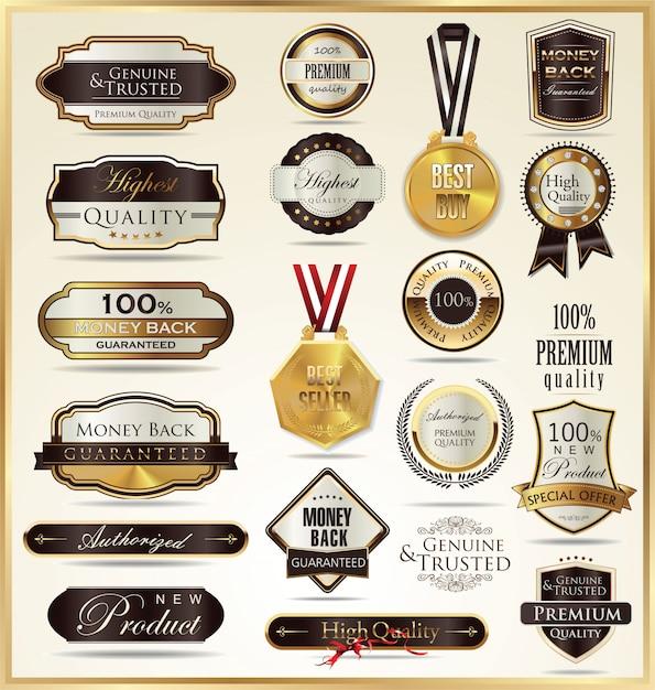 Luxe gouden labels Premium Vector