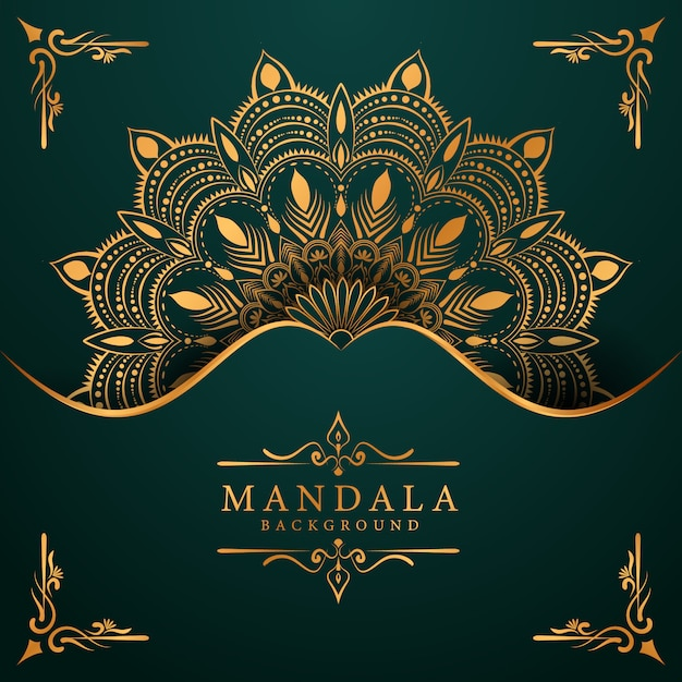 Luxe gouden mandala achtergrond met gouden arabesque arabische islamitische oost-stijl Premium Vector