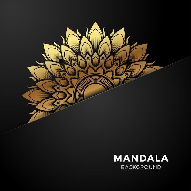 Luxe gouden mandala achtergrond Premium Vector